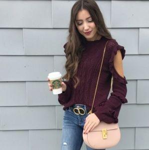 Express sz XL cold shoulder sweater. Ruffle sleeve